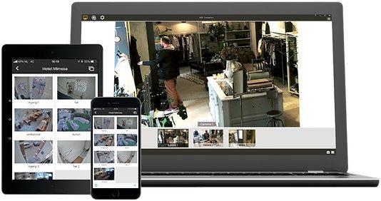 Altijd toegang tot uw Camarenti bewakingscamera's via telfoon of laptop